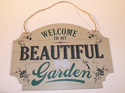 Welcome to My Garden Large Vintage Shabby Chic Wooden Wall Hanging Plaque Sign