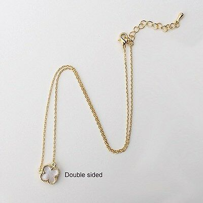 Gorgeous 1cm Small White Mother of Pearl four leaf clover Necklace-4-S-G
