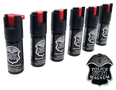 6 Police Magnum OC-17 mace pepper spray 1/2oz ounce safety lock defense security