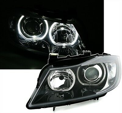 2 Feux Phare Avant Angel Eyes A Led Bmw Serie 3 E90 E91 Fond Noir Vrai Xenon