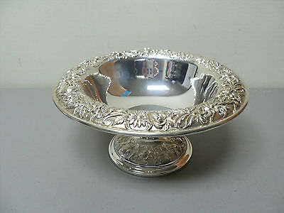 Stunning Antique S Kirk & Son Repousse Sterling Silver Pedestal Centerpiece Bowl