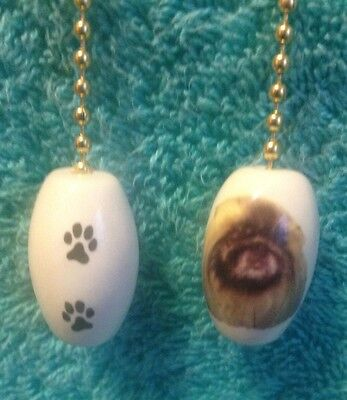 One Pekingese Fan Pull With Paw Prints On The Back 1""