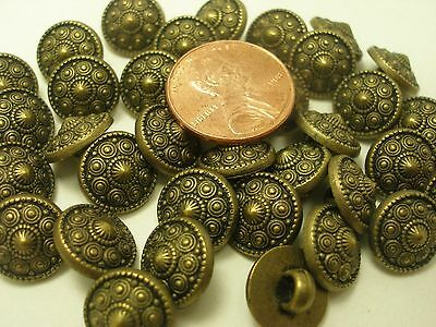 New lot of 12 Electroplated Plastic Antique brass 7/16 in (11mm) Buttons (#L)