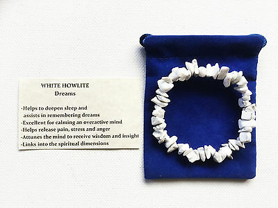 White Howlite Gemstone Crystal Bracelet Chip Beads Stretch Chakra Meditation