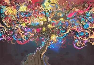 Psychedelic Tree Trippy 3D Artwork Full Wall Mural Printing Wallpaper Home Decal