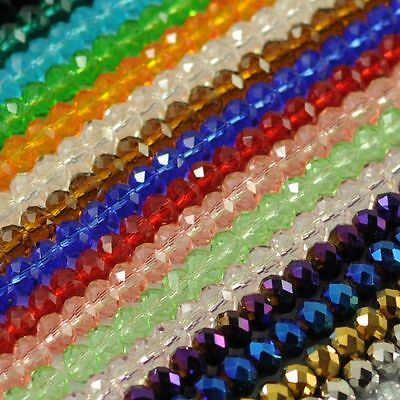New Faceted Crystal Rondelle Loose Charm Glass Beads Jewelry 24 Colors 6mm 8mm