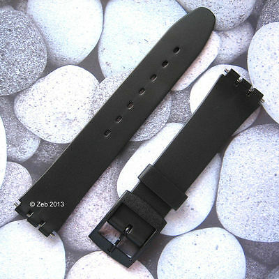 Black 12mm/14mm Resin Plastic Watch Strap [LADIES SIZE] Fits Swatch + New Pins