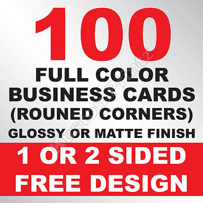 100 Custom Full Color Business Cards | 16Pt | Rounded Corners | Free Design