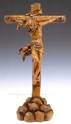 NEW! Wooden Like Look Jesus on Cross Stand Church Goods Crucifix Gift Home
