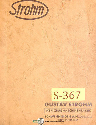 Strohm M45, Automatic Screw Machine, Operations Manual 1961