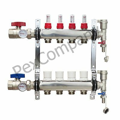 4 - Loop/Port Stainless Steel PEX Manifold Radiant Heating