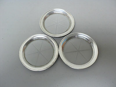 Set/3 Vintage Glass Coasters, Cut Starburst Design & Sterling Silver Rim