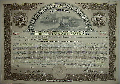 New York Central & Hudson River Railroad Bond Stock Certificate Michigan