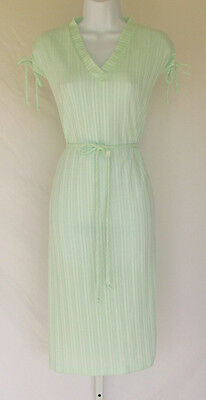 VINTAGE 1960s 70s MOD SCOOTER DRESS MS CLAIRE NEW YORK GREEN BELT BOWS WHITE