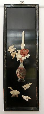 Chinese Rosewood Panel Vase and Flower Wall Art Pickup Guildford 2161
