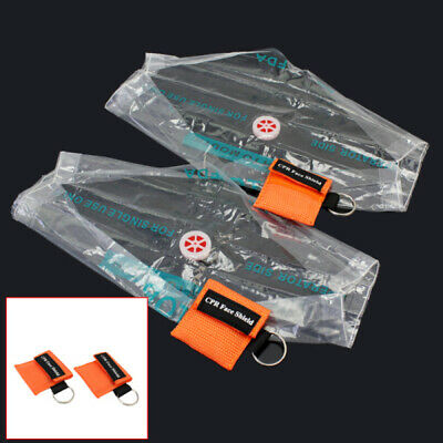 2 Pcs Emergency CPR Face Shield Mask First Aid Keychain Key Ring Resuscitator