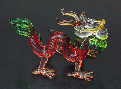 Figurine Animal Hand Blown Glass Dragon - 002
