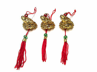 3 x Chinese Lucky Money Toad Hanging Charms - Good Fortune & Wealth