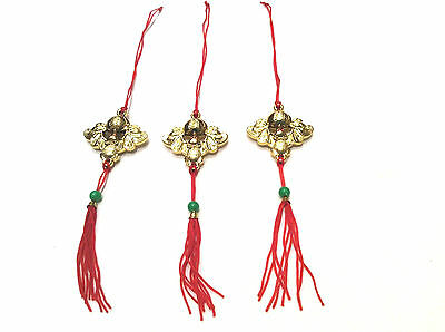 3 x Chinese Lucky Fortune Bat Hanging Charms - Good Fortune, Wealth & Prosperity
