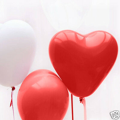 100 Pcs Red Heart Shape Helium Quality Balloons