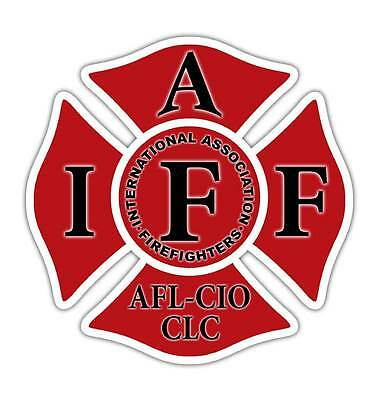 "Red IAFF 4"" Decal - Firefighter Cross Sticker International"