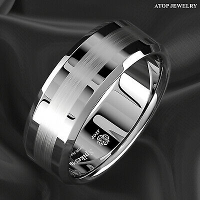 8Mm Brushed Center Tungsten Carbide Comfort Fit Size Wedding Band Men Jewelry