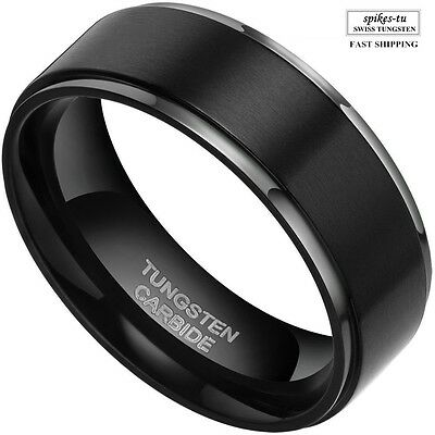 8mm Mens Black Brush Center Tungsten Carbide Promise Ring Wedding Band