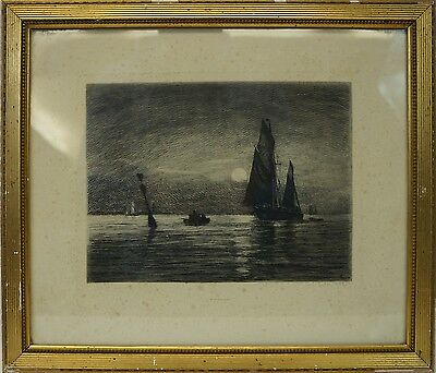 Carl Locher (1851-1915) Schiffe Im Mondschein - Ships In Moonlight - Marinemaler