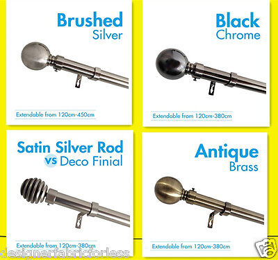 TOP QUALITY Curtain Rod & Finial Set, Extendable from 120cm - 430cm - 4 Styles
