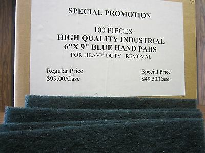 "6""x9"" Hand Pads Blue 100pcs  industrial For Heavy Duty Removal #HPD-BLUE-new"