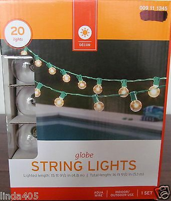 New 20 Clear Globe Green  Wire Rv In/outdoor Patio Porch String Lights 15 Ft G40