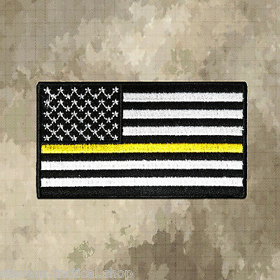 Black & White THIN YELLOW LINE US Flag Patch, Security, Loss Prevention, Tow