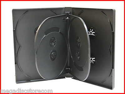 2 Pk 8 Tray 22 mm Premium DVD Movie Game Case Black Multi Disc Box hold up to 8