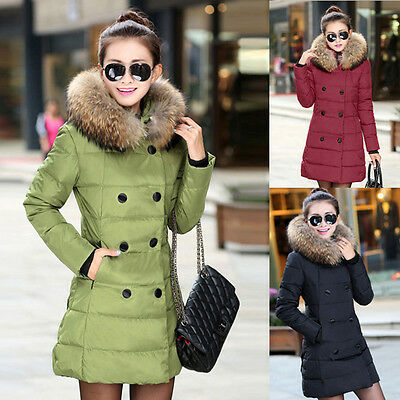 3 Kinds Button Womens Faux Fur Hooded Coat Down Jacket Padded Long Parka Outwear