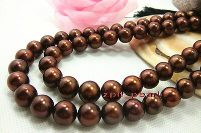 """AAAAA ROUND 35""""11-12mm NATURAL real southsea chocolate pearl necklace,Gold 14K"""