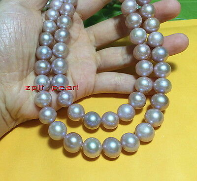 """AAAAA Luster 35""""11-12mm Natural real south sea pink purples pearl necklace 14k"""