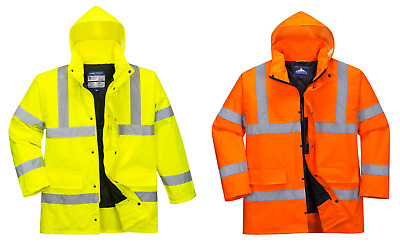 Portwest S460 High Visibility Hi Vis Hooded Waterproof Traffic Jacket Coat
