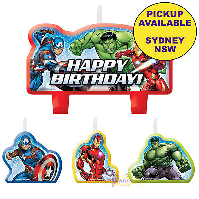 Avengers Epic Party Supplies 4Pc Candle Set Superhero Birthday Cake Toppers