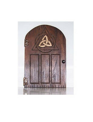 Handcrafted Wooden Fairy Door - Triquetra Design Celtic Knot Faerie Pagan Gifts