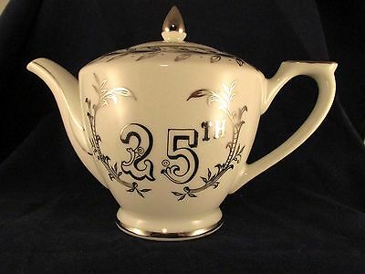 Lefton China Silver Anniversary,25 Years,Teapot 279N,White,Silver Ribbons,Bells