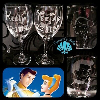 Personalised DISNEY Wedding Glasses Cinderella & Prince Charming! Bride & Groom