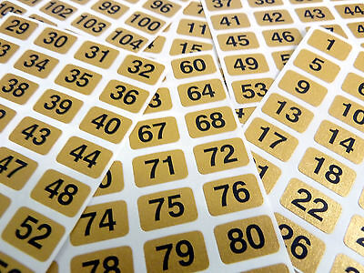 Gold 16x10mm Consecutive, Sequential Number Sequence Labels, Numbering Stickers