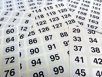 Silver 16x10mm Consecutive Sequential Number Sequence Labels Numbering Stickers
