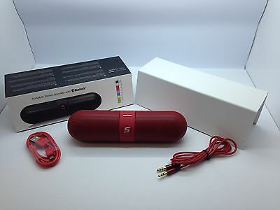 Lot Of 2 New Bluetooth Smooth Portable Stereo Speaker Wireless Universal Red