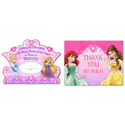 Disney Princess  Birthday Party Supplies Invitations and Thank You Cards