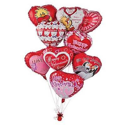 Valentine's Day Celebration 10pcs. Mylar Heart Balloon Assortment 18""