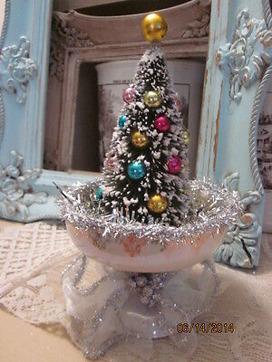 Vintage inspired Christmas tree bottle brush ornaments glass dish tinsel silver