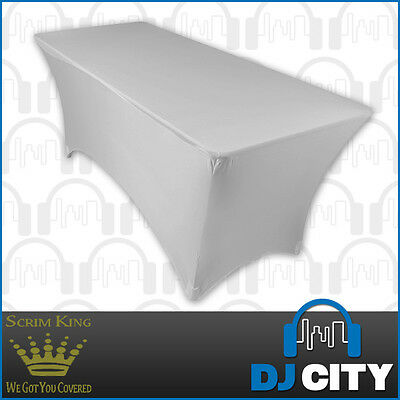 SCRIM KING 6 Foot Table Stand Scrim in White - Lycra Stand Cover - DJ City Au...