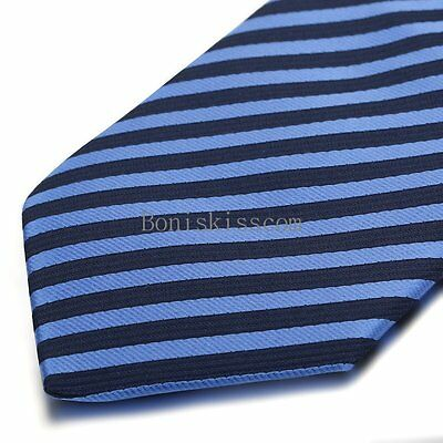 Men's Classic Skinny Blue White Striped Casual Suit Wedding Necktie Neck Tie
