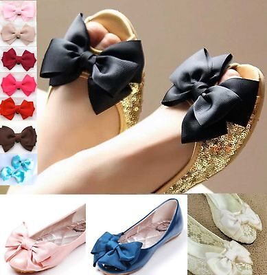 Bridal Wedding Black Cream Red Nude Blue Pink Ribbon Bow Butterfly Shoe Clips
